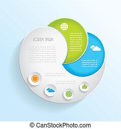 infographic, エコロジー, 現代, ベクトル, デザイン, テンプレート