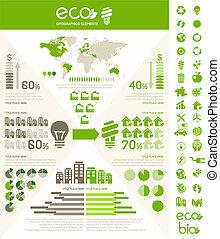 infographic, エコロジー, template.