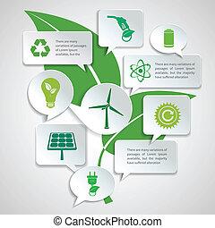 infographic, エネルギー, エコロジー, 泡, ペーパー