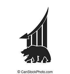 infographic, グラフィック, 財政, 利益, 熊, ベクトル, icon.