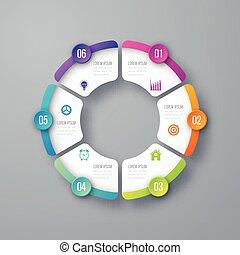 infographic, グラフ, 円, ベクトル, テンプレート