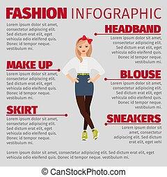 infographic, スタイル, ファッション, 女の子, 偶然