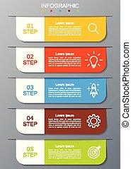 infographic, ステップ, 現代, 5, オプション