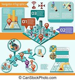 infographic, セット, ナビゲーション