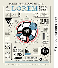 infographic, セット, レトロ, 活版印刷