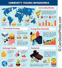infographic, セット, 取引, 商品