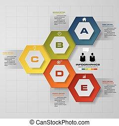 infographic, タイムライン, ベクトル, デザイン, テンプレート, ステップ, 5
