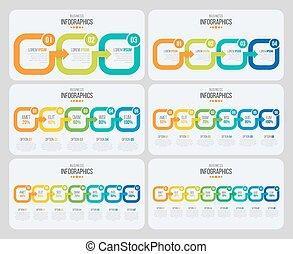 infographic, タイムライン, ベクトル, 矢, テンプレート
