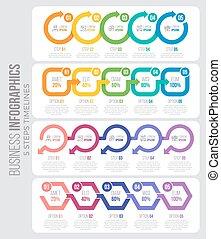 infographic, タイムライン, 4, ベクトル, ステップ, テンプレート, arrows., 5