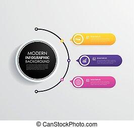 infographic, タイムライン, icons., 3, ベクトル, デザイン, マーケティング