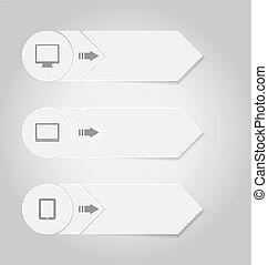 infographic, タグ, ペーパー, デザイン, テンプレート, 装置, 電子
