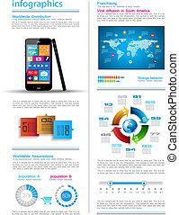 infographic, タッチスクリーン, smartphone, 現代