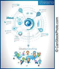 infographic, テンプレート, ∥ために∥, 統計値, データ, visualization., 現代,...