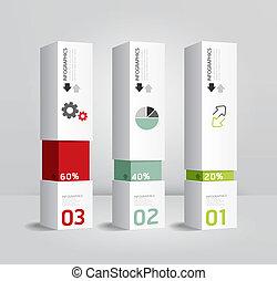 infographic, テンプレート, 現代, ボックス意匠, 最小である, スタイル, /, 缶, ありなさい,...