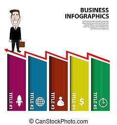 infographic, ビジネスマン, 漫画, ビジネス