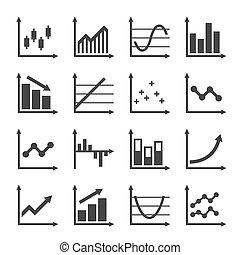 infographic, ビジネス アイコン, グラフ, set., ベクトル