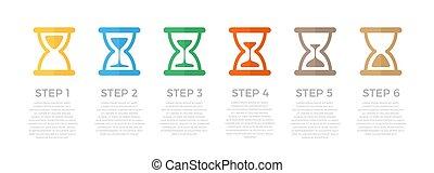 infographic, ビジネス, タイムライン, concept., イラスト, clocks, バックグラウンド。, 砂, ベクトル, デザイン, マーケティング, 白, プレゼンテーション, 砂時計