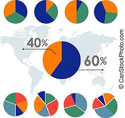 infographic, ビジネス, パイ, 要素, 図, ベクトル, デザイン, チャート, 円