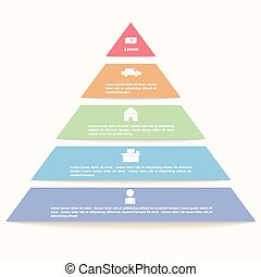 infographic, ピラミッド, テンプレート