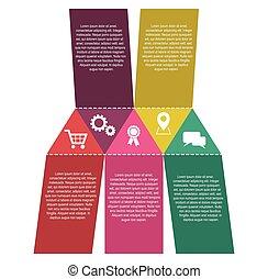 infographic, ベクトル, アイコン, ステップ, ペーパー, 5, テンプレート