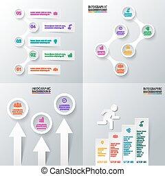 infographic., ベクトル, セット, 要素