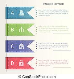infographic, ベクトル, テンプレート, カラフルである, ribbons.