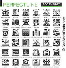 infographic, ミニ, 概念アイコン, eco, エネルギー, ベクトル, シンボル, セット, 黒, 緑