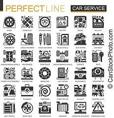 infographic, ミニ, 概念, サービス, アイコン, 自動車, ベクトル, シンボル, セット, 黒