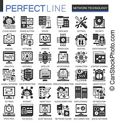 infographic, ミニ, 概念, ネットワーク, アイコン, シンボル, セット, 黒, 技術