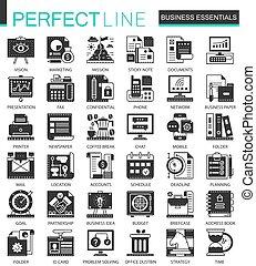 infographic, ミニ, 概念, ビジネス アイコン, クラシック, ベクトル, シンボル, セット, 黒, 必要