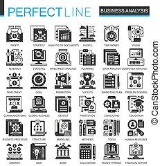 infographic, ミニ, 概念, ビジネス アイコン, クラシック, ベクトル, シンボル, analytics, セット, 黒