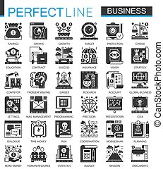 infographic, ミニ, 概念, ビジネス, クラシック, 世界的である, ベクトル, シンボル, セット, 黒, アイコン