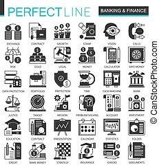 infographic, ミニ, 概念, 金融, アイコン, クラシック, ベクトル, シンボル, 銀行業, セット, 黒