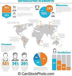 infographic, レイアウト, avatar, 要素