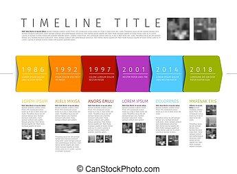 infographic, 付加的, カラフルである, テキスト, タイムライン, 写真, ベクトル, テンプレート, ...
