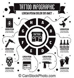 infographic, 入れ墨, スタイル, 単純である