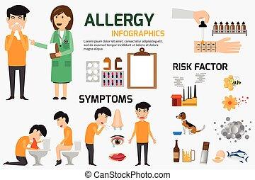 infographic, 內容, 概念, illustration., set., 過敏, 症狀, 矢量, 健康, 圖像, disease., 醫學, 預防