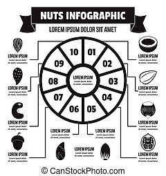infographic, 単純である, スタイル, ナット