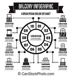 infographic, 単純である, スタイル, バルコニー