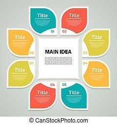 infographic., 図, 概念, processes., ビジネス, 部分, 抽象的, ∥あるいは∥, グラフ, ラウンド, chart., バックグラウンド。, ベクトル, ステップ, テンプレート, 8, 円, プレゼンテーション, オプション, 周期