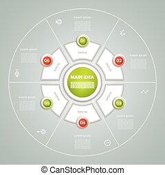 infographic., 図, 概念, processes., ビジネス, cyclic, 部分, 抽象的, グラフ, ∥あるいは∥, chart., バックグラウンド。, ベクトル, ステップ, テンプレート, 6, 円, プレゼンテーション, オプション