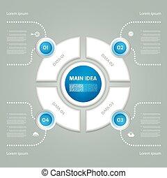 infographic., 図, 概念, processes., ビジネス, cyclic, 部分, 抽象的, グラフ, ∥あるいは∥, chart., バックグラウンド。, ベクトル, ステップ, 4, テンプレート, 円, プレゼンテーション, オプション