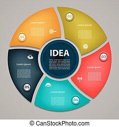 infographic., 図, 概念, processes., ビジネス, cyclic, 部分, 抽象的, グラフ, ∥あるいは∥, chart., バックグラウンド。, ベクトル, 5, テンプレート, ステップ, 円, プレゼンテーション, オプション