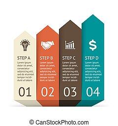 infographic., 図, 概念, visualization., processes., ビジネス, 部分, プレゼンテーション, 抽象的, 始動, グラフ, ∥あるいは∥, chart., バックグラウンド。, ベクトル, ステップ, 4, テンプレート, 矢, データ, オプション
