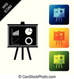 infographic, 図, buttons., セット, ビジネス, カラフルである, アイコン, isolated., グラフ, 印。, パイグラフ, チャート, ベクトル, 広場, 板, 財政, プレゼンテーション, イラスト, アイコン
