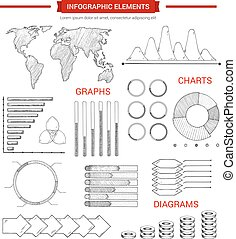 infographic, 图表, 图表, 元素, sketched