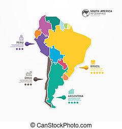 infographic, 地圖, 概念, banner., 豎鋸, 插圖, 矢量, 樣板, 美國, 南方