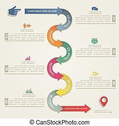 infographic, 報告, 樣板, 由于, 箭, 以及, icons., 矢量
