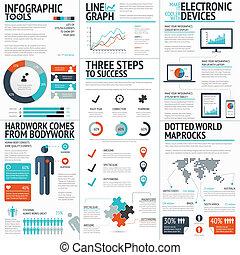 infographic, 大きい, セット, カラフルである, バス