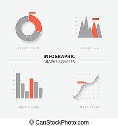 infographic, 套間, 集合, 圖表, 圖, 矢量, 設計